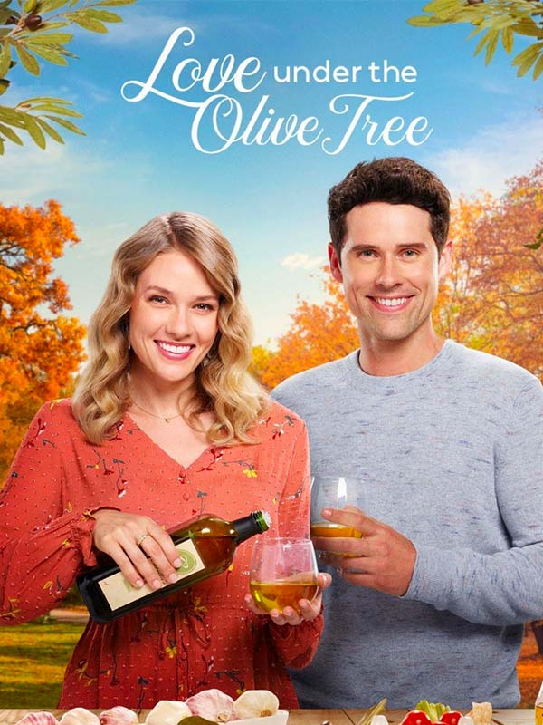 Poster for the film Love Under the Olive Tree, a white man and woman hold containers of olive oil and smile at the camera