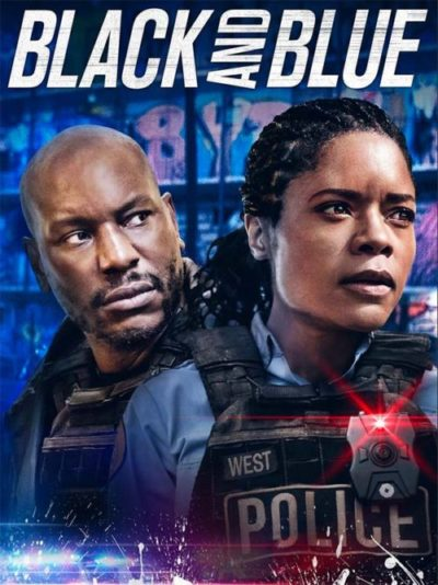 Poster for the film black and blue, two police officers stare worriedly